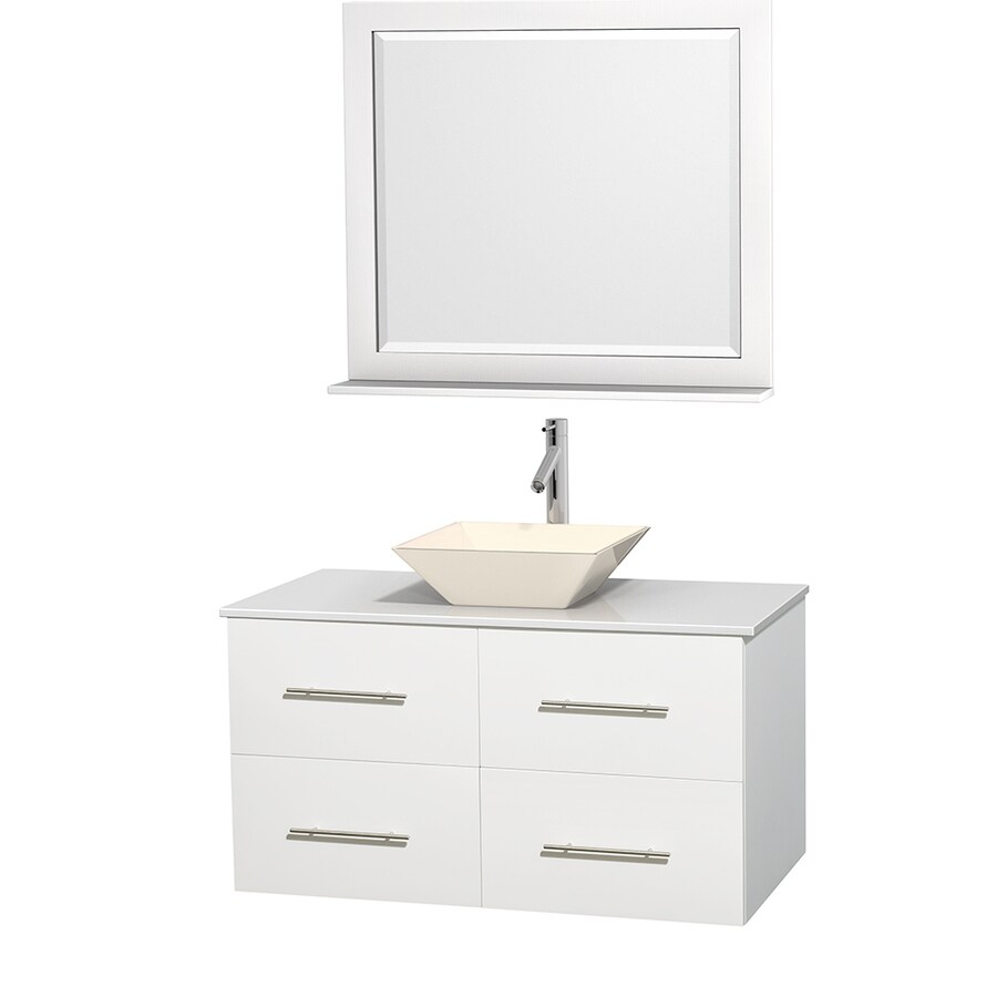 Wyndham Collection Centra White Vessel Single Sink Oak Bathroom Vanity with Engineered Stone Top (Mirror Included) (Common: 42-in x 21.5-in; Actual: 42-in x 21.5-in)