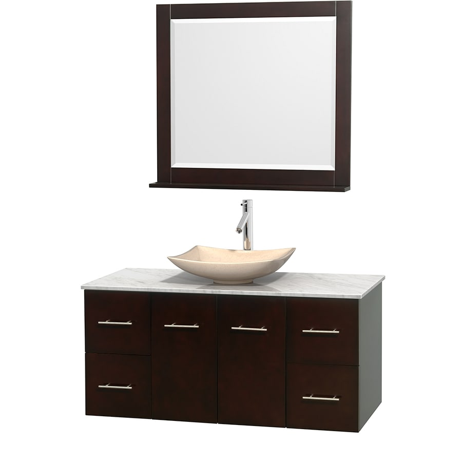 Wyndham Collection Centra Espresso Vessel Single Sink Oak Bathroom Vanity with Natural Marble Top (Mirror Included) (Common: 48-in x 21.5-in; Actual: 48-in x 21.5-in)