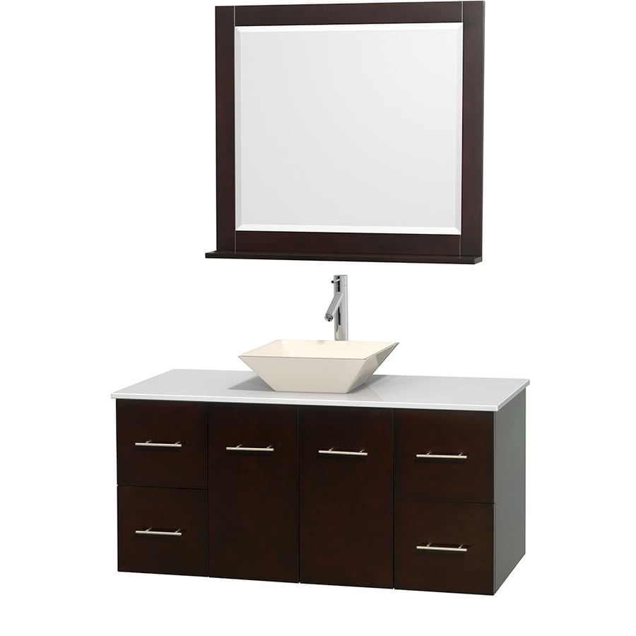 Wyndham Collection Centra Espresso Vessel Single Sink Oak Bathroom Vanity with Engineered Stone Top (Mirror Included) (Common: 48-in x 21.5-in; Actual: 48-in x 21.5-in)