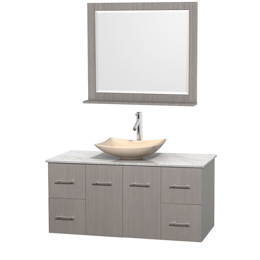Wyndham Collection Centra Gray Oak Vessel Single Sink Oak Bathroom Vanity with Natural Marble Top (Mirror Included) (Common: 48-in x 21.5-in; Actual: 48-in x 21.5-in)
