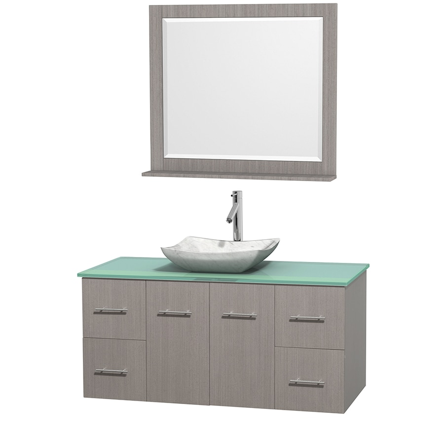 Wyndham Collection Centra Gray Oak Vessel Single Sink Oak Bathroom Vanity with Tempered Glass and Glass Top (Mirror Included) (Common: 48-in x 21.5-in; Actual: 48-in x 21.5-in)