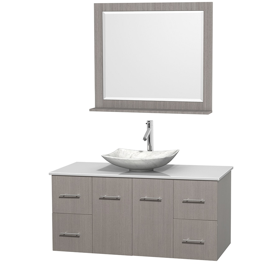 Wyndham Collection Centra Gray Oak Vessel Single Sink Oak Bathroom Vanity with Engineered Stone Top (Mirror Included) (Common: 48-in x 21.5-in; Actual: 48-in x 21.5-in)