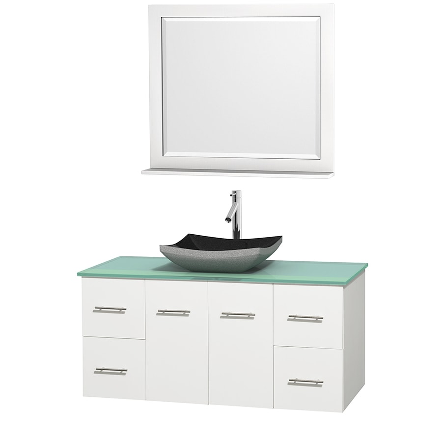 Wyndham Collection Centra White Vessel Single Sink Oak Bathroom Vanity with Tempered Glass and Glass Top (Mirror Included) (Common: 48-in x 21.5-in; Actual: 48-in x 21.5-in)