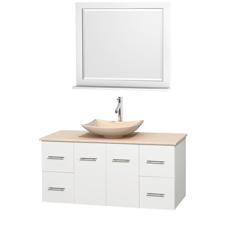 Wyndham Collection Centra White Vessel Single Sink Oak Bathroom Vanity with Natural Marble Top (Mirror Included) (Common: 48-in x 21.5-in; Actual: 48-in x 21.5-in)