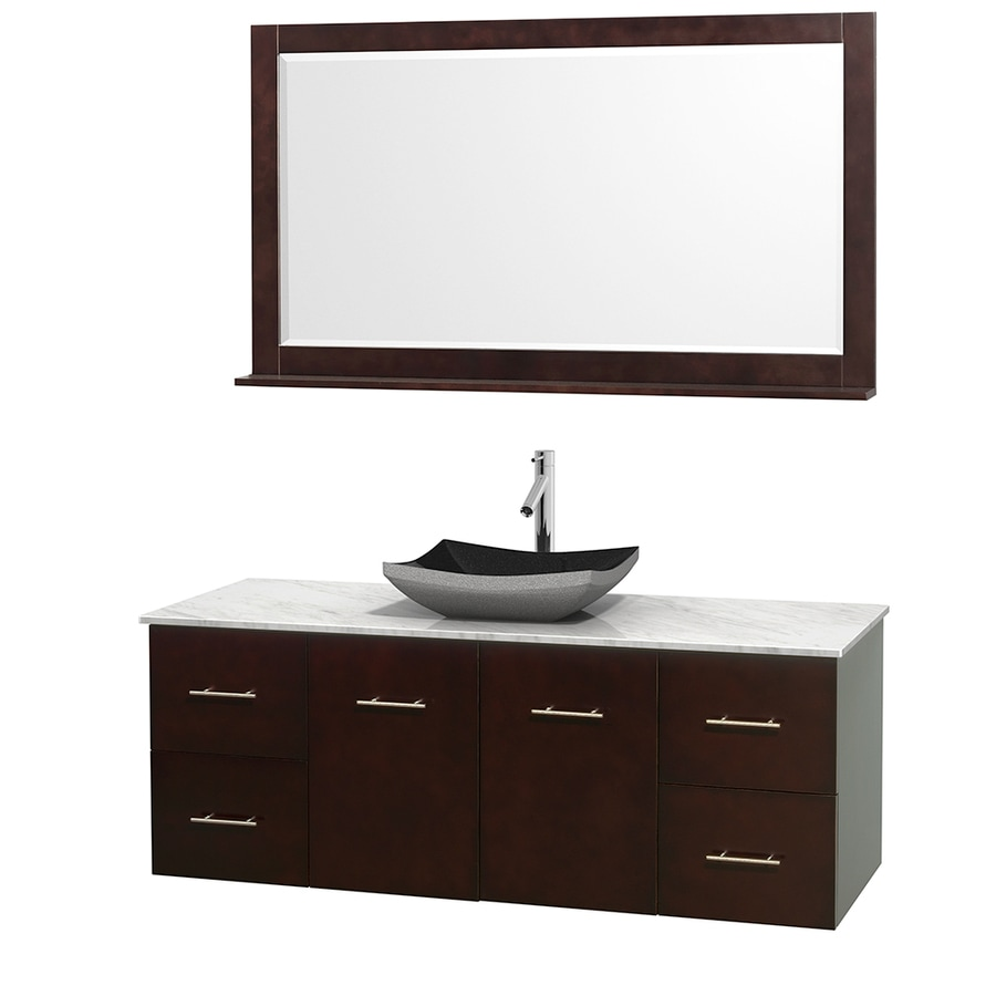 Wyndham Collection Centra Espresso Vessel Single Sink Oak Bathroom Vanity with Natural Marble Top (Mirror Included) (Common: 60-in x 22.5-in; Actual: 60-in x 22.25-in)