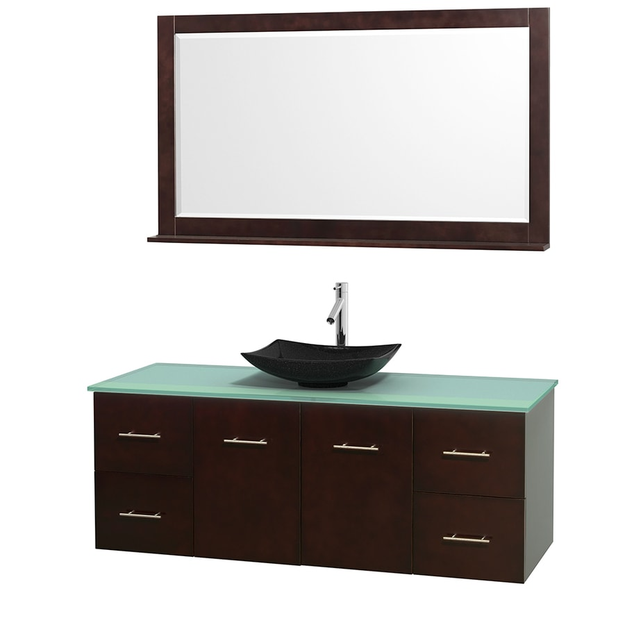 Wyndham Collection Centra Espresso Vessel Single Sink Oak Bathroom Vanity with Tempered Glass and Glass Top (Mirror Included) (Common: 60-in x 22.5-in; Actual: 60-in x 22.25-in)