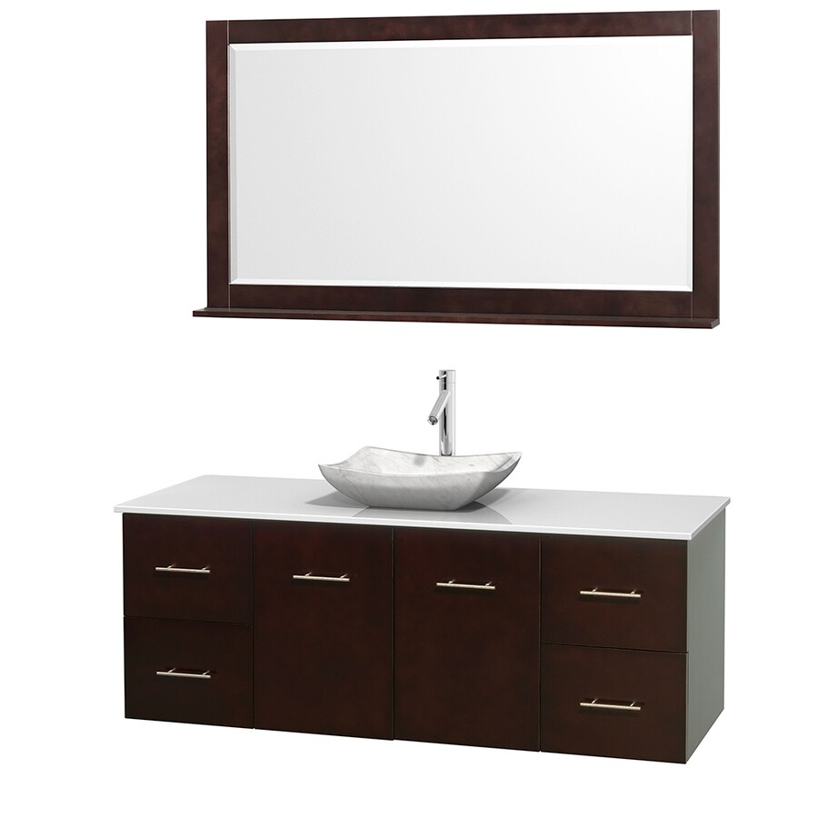 Wyndham Collection Centra Espresso Vessel Single Sink Oak Bathroom Vanity with Engineered Stone Top (Mirror Included) (Common: 60-in x 22.5-in; Actual: 60-in x 22.25-in)