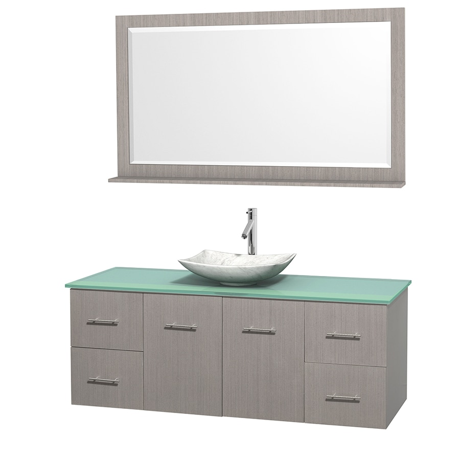Wyndham Collection Centra Gray Oak Vessel Single Sink Oak Bathroom Vanity with Tempered Glass and Glass Top (Mirror Included) (Common: 60-in x 22.5-in; Actual: 60-in x 22.25-in)