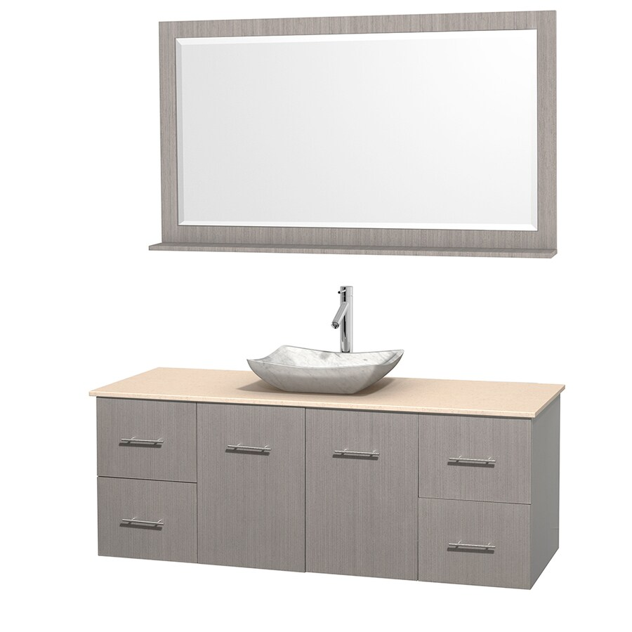 Wyndham Collection Centra Gray Oak Vessel Single Sink Oak Bathroom Vanity with Natural Marble Top (Mirror Included) (Common: 60-in x 22.5-in; Actual: 60-in x 22.25-in)