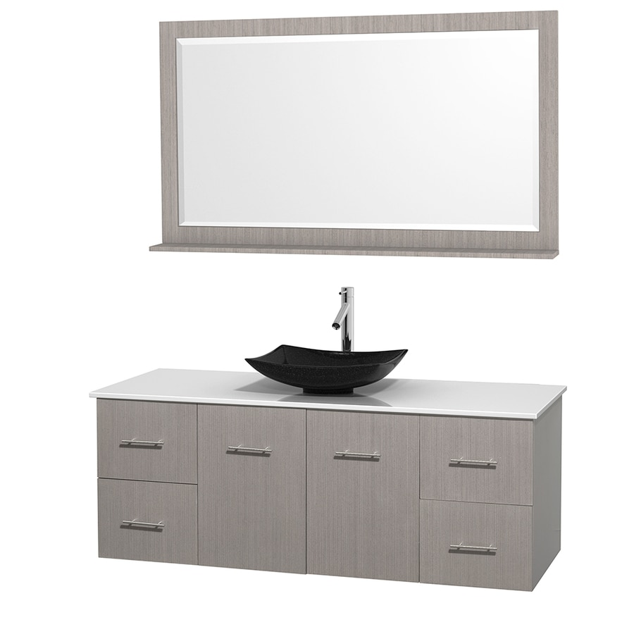 Wyndham Collection Centra Gray Oak Vessel Single Sink Oak Bathroom Vanity with Engineered Stone Top (Mirror Included) (Common: 60-in x 22.5-in; Actual: 60-in x 22.25-in)