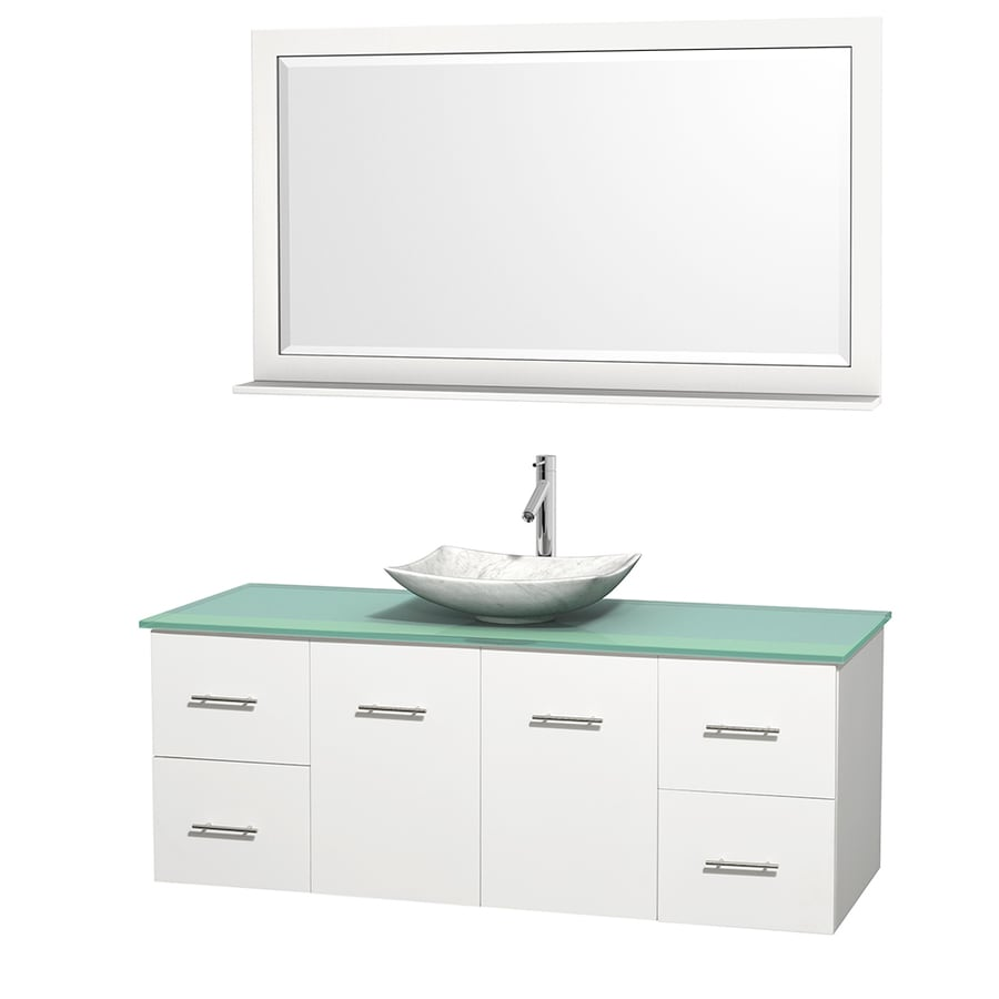 Wyndham Collection Centra White Vessel Single Sink Oak Bathroom Vanity with Tempered Glass and Glass Top (Mirror Included) (Common: 60-in x 22.5-in; Actual: 60-in x 22.25-in)
