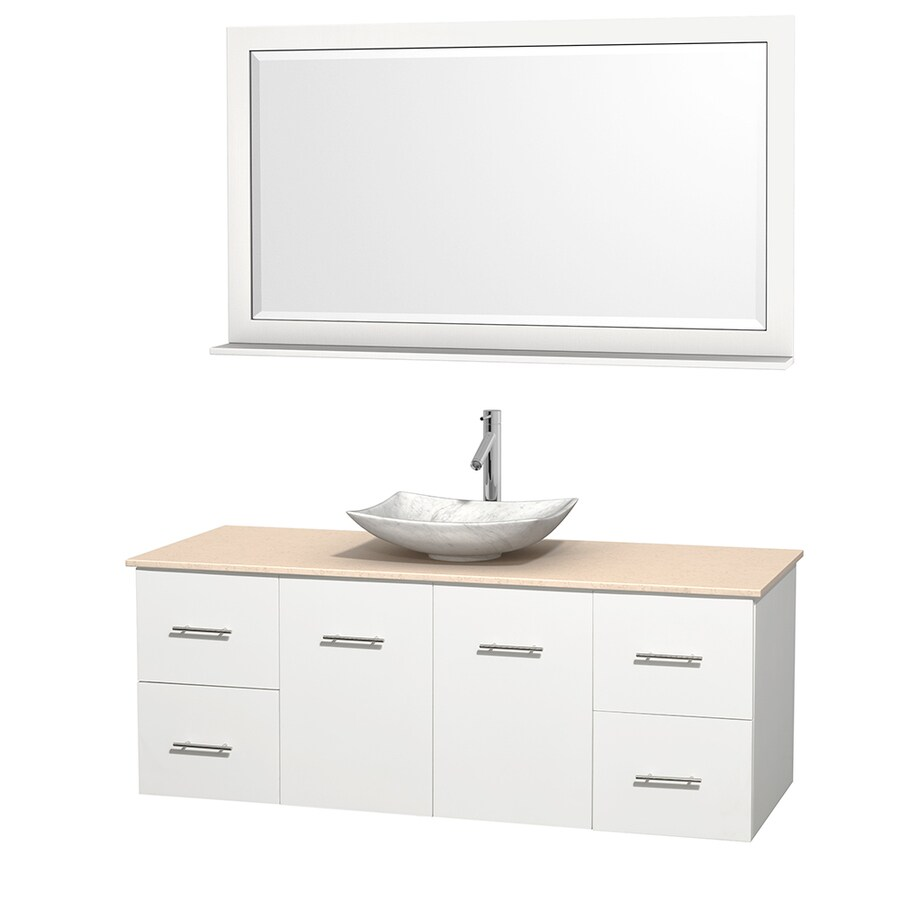 Wyndham Collection Centra White Vessel Single Sink Oak Bathroom Vanity with Natural Marble Top (Mirror Included) (Common: 60-in x 22.5-in; Actual: 60-in x 22.25-in)
