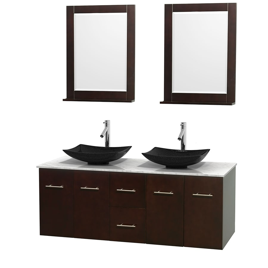 Wyndham Collection Centra Espresso Vessel Double Sink Oak Bathroom Vanity with Natural Marble Top (Mirror Included) (Common: 60-in x 22.5-in; Actual: 60-in x 22.25-in)