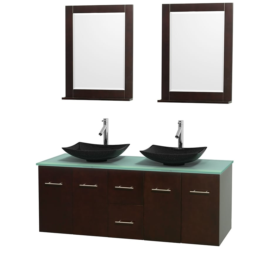 Wyndham Collection Centra Espresso Vessel Double Sink Oak Bathroom Vanity with Tempered Glass and Glass Top (Mirror Included) (Common: 60-in x 22.5-in; Actual: 60-in x 22.25-in)