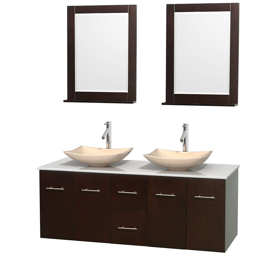 Wyndham Collection Centra Espresso Vessel Double Sink Oak Bathroom Vanity with Engineered Stone Top (Mirror Included) (Common: 60-in x 22.5-in; Actual: 60-in x 22.25-in)