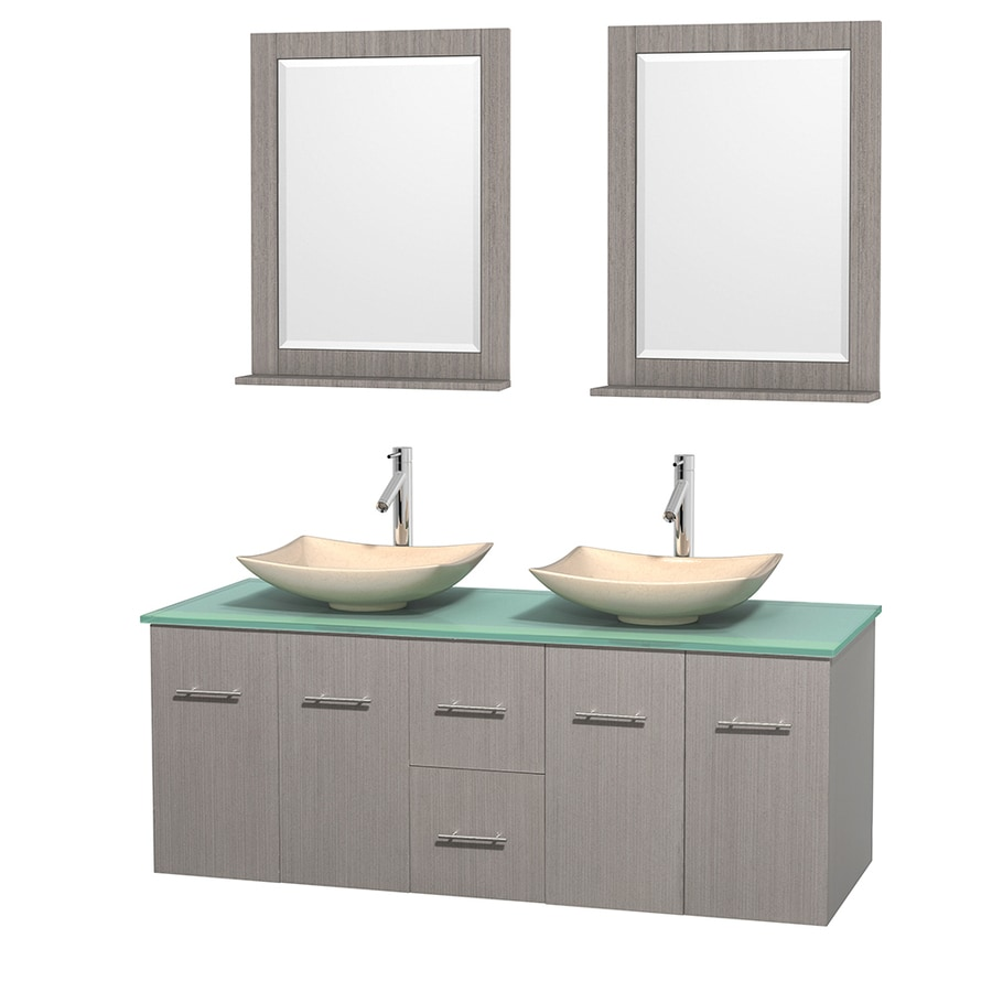 Wyndham Collection Centra Gray Oak Vessel Double Sink Oak Bathroom Vanity with Tempered Glass and Glass Top (Mirror Included) (Common: 60-in x 22.5-in; Actual: 60-in x 22.25-in)