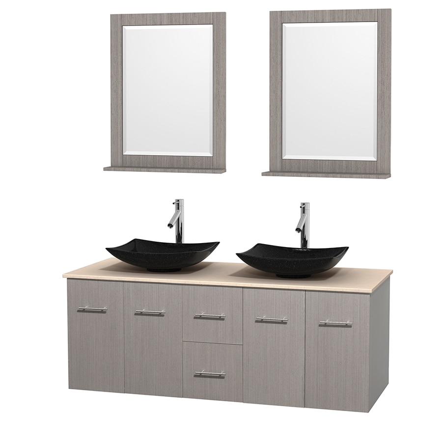 Wyndham Collection Centra Gray Oak Vessel Double Sink Oak Bathroom Vanity with Natural Marble Top (Mirror Included) (Common: 60-in x 22.5-in; Actual: 60-in x 22.25-in)
