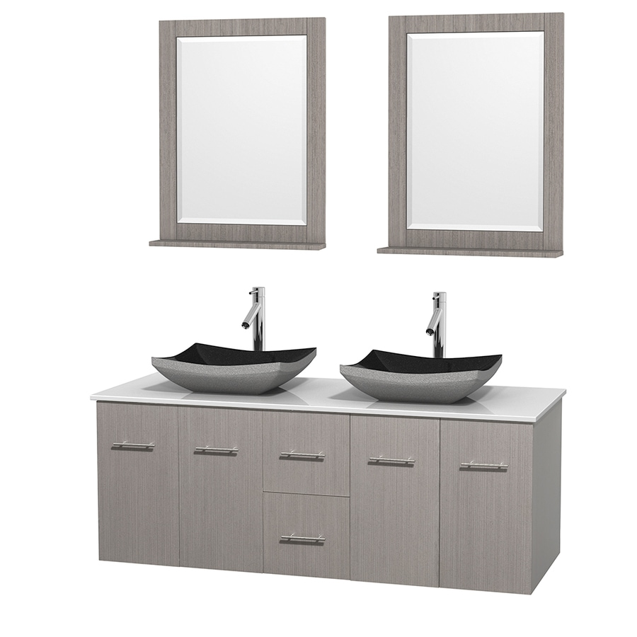 Wyndham Collection Centra Gray Oak Vessel Double Sink Oak Bathroom Vanity with Engineered Stone Top (Mirror Included) (Common: 60-in x 22.5-in; Actual: 60-in x 22.25-in)
