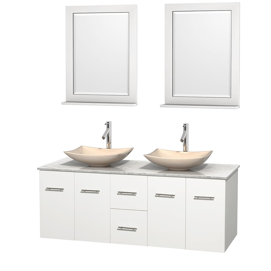 Wyndham Collection Centra White Vessel Double Sink Oak Bathroom Vanity with Natural Marble Top (Mirror Included) (Common: 60-in x 22.5-in; Actual: 60-in x 22.25-in)
