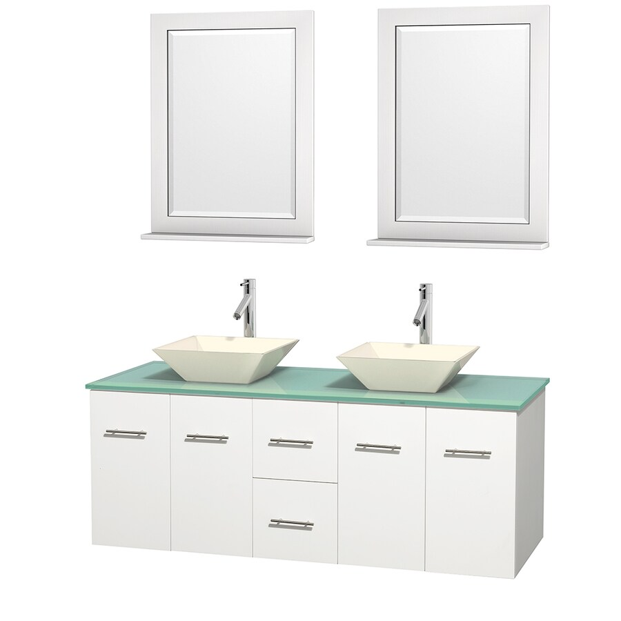 Wyndham Collection Centra White Vessel Double Sink Oak Bathroom Vanity with Tempered Glass and Glass Top (Mirror Included) (Common: 60-in x 22.5-in; Actual: 60-in x 22.25-in)