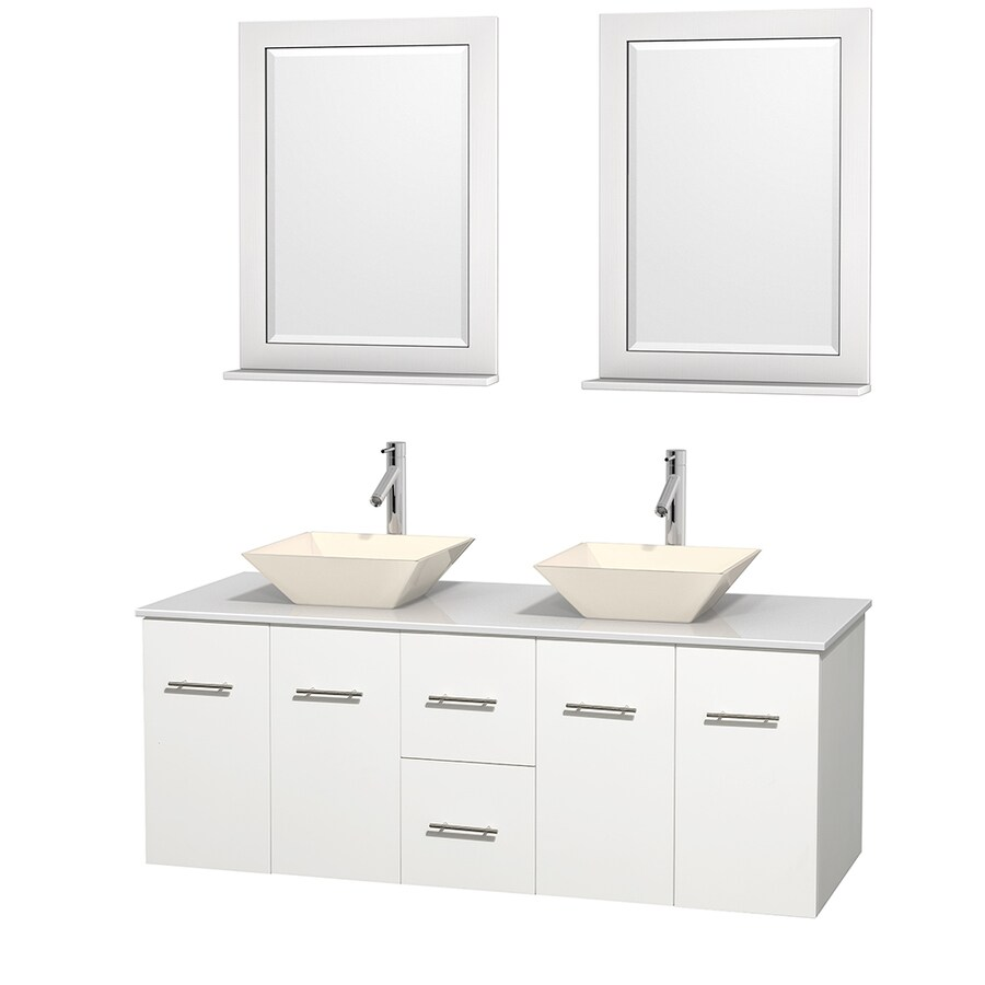 Wyndham Collection Centra White Vessel Double Sink Oak Bathroom Vanity with Engineered Stone Top (Mirror Included) (Common: 60-in x 22.5-in; Actual: 60-in x 22.25-in)