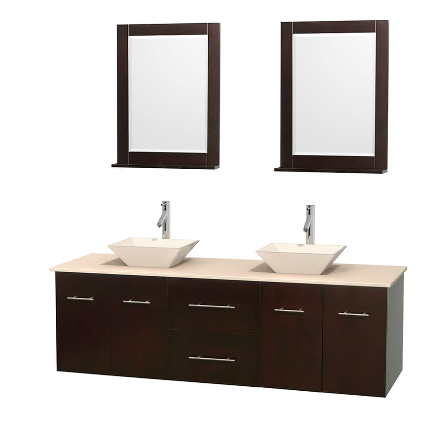 Wyndham Collection Centra Espresso Vessel Double Sink Oak Bathroom Vanity with Natural Marble Top (Mirror Included) (Common: 72-in x 22.5-in; Actual: 72-in x 22.25-in)