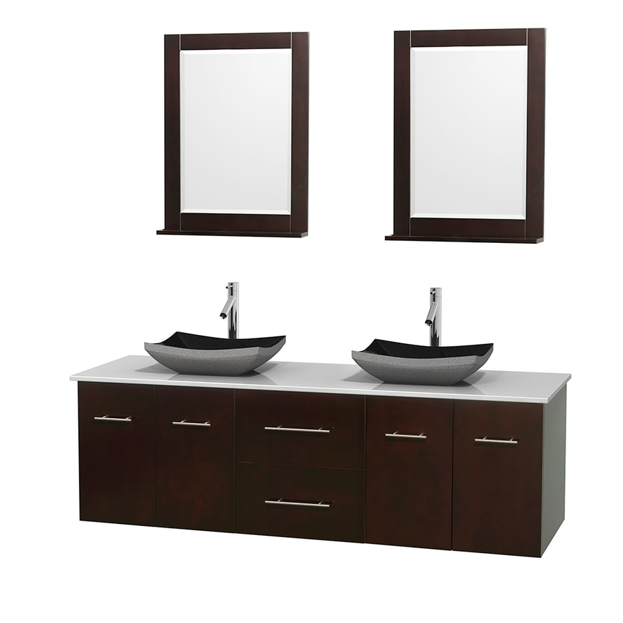 Wyndham Collection Centra Espresso Vessel Double Sink Oak Bathroom Vanity with Engineered Stone Top (Mirror Included) (Common: 72-in x 22.5-in; Actual: 72-in x 22.25-in)