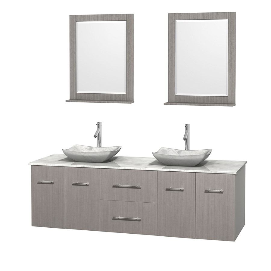 Wyndham Collection Centra Gray Oak Vessel Double Sink Oak Bathroom Vanity with Natural Marble Top (Mirror Included) (Common: 72-in x 22.5-in; Actual: 72-in x 22.25-in)