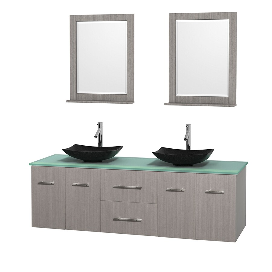 Wyndham Collection Centra Gray Oak Vessel Double Sink Oak Bathroom Vanity with Tempered Glass and Glass Top (Mirror Included) (Common: 72-in x 22.5-in; Actual: 72-in x 22.25-in)