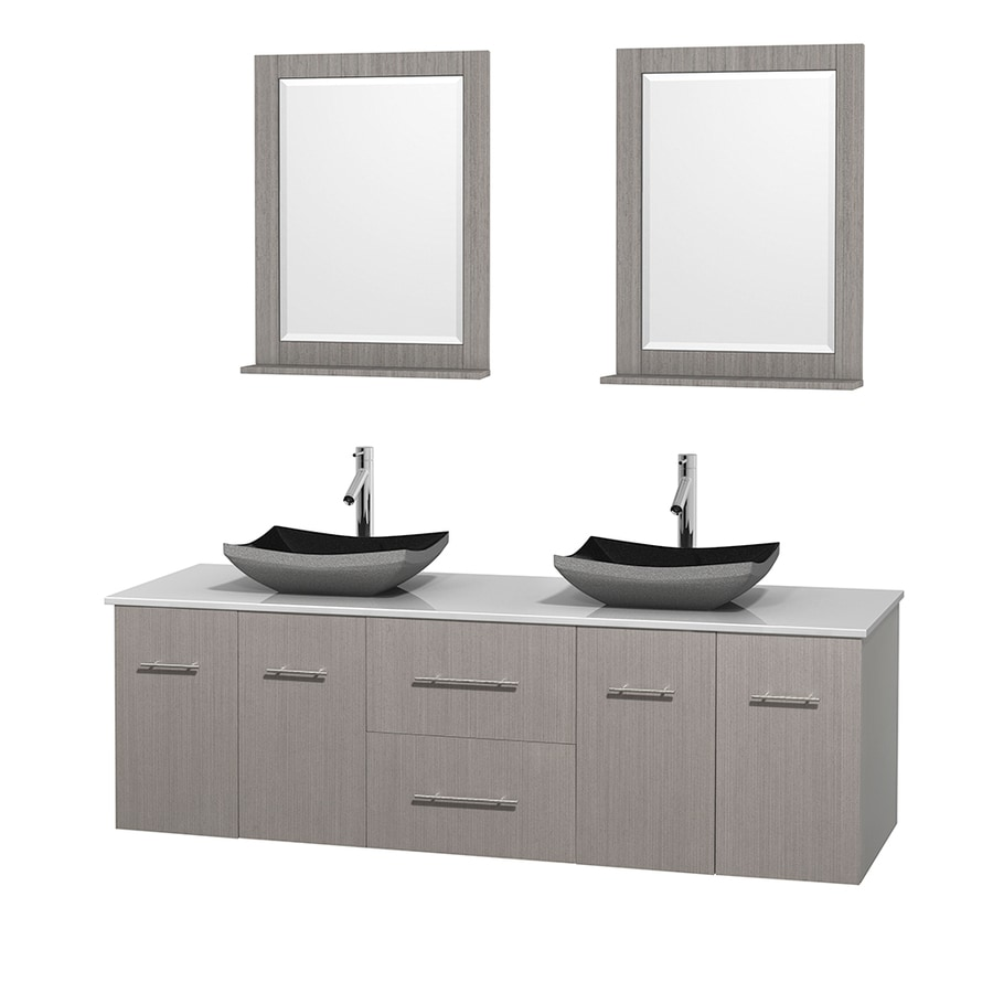 Wyndham Collection Centra Gray Oak Vessel Double Sink Oak Bathroom Vanity with Engineered Stone Top (Mirror Included) (Common: 72-in x 22.5-in; Actual: 72-in x 22.25-in)