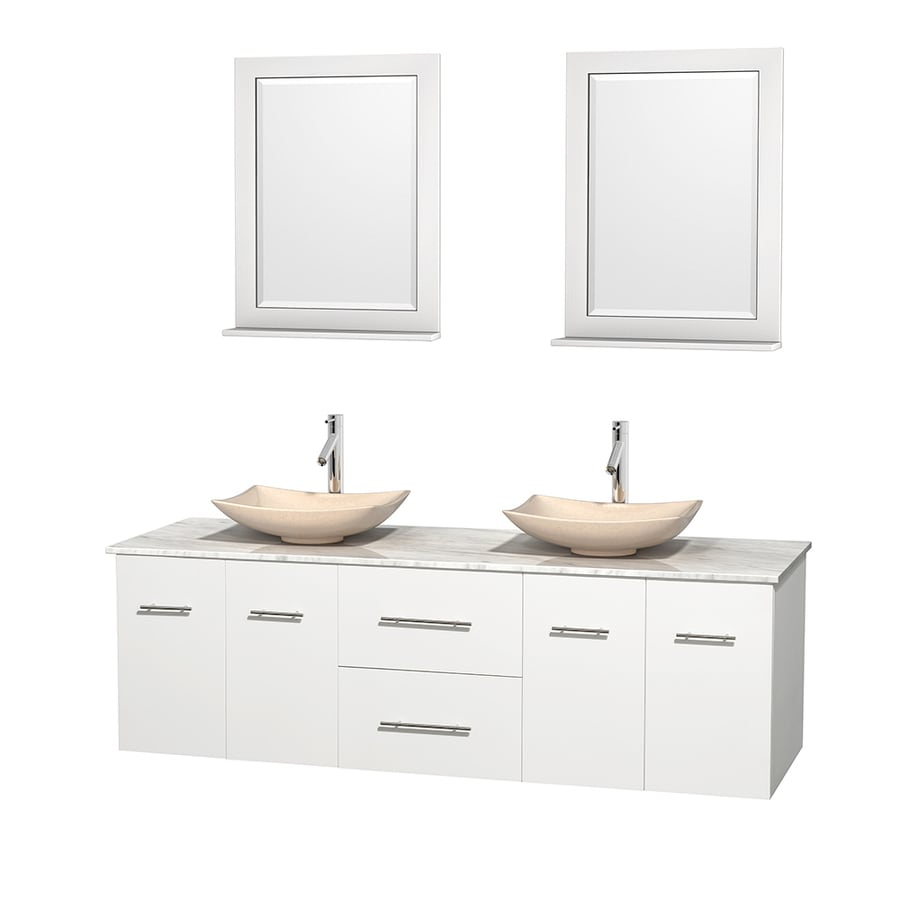 Wyndham Collection Centra White Vessel Double Sink Oak Bathroom Vanity with Natural Marble Top (Mirror Included) (Common: 72-in x 22.5-in; Actual: 72-in x 22.25-in)