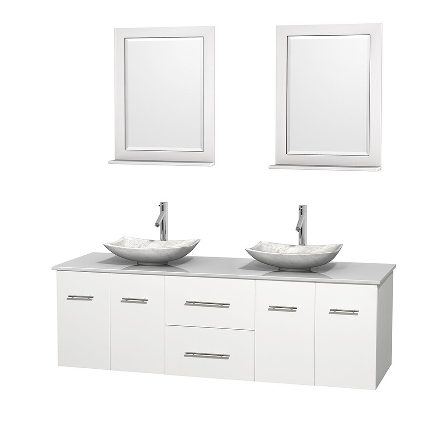 Wyndham Collection Centra White Vessel Double Sink Oak Bathroom Vanity with Engineered Stone Top (Mirror Included) (Common: 72-in x 22.5-in; Actual: 72-in x 22.25-in)
