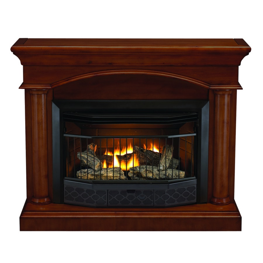 Shop Style Selections 23000 Btu Vent Free Gas Fireplace With Cinnamon Mantel At