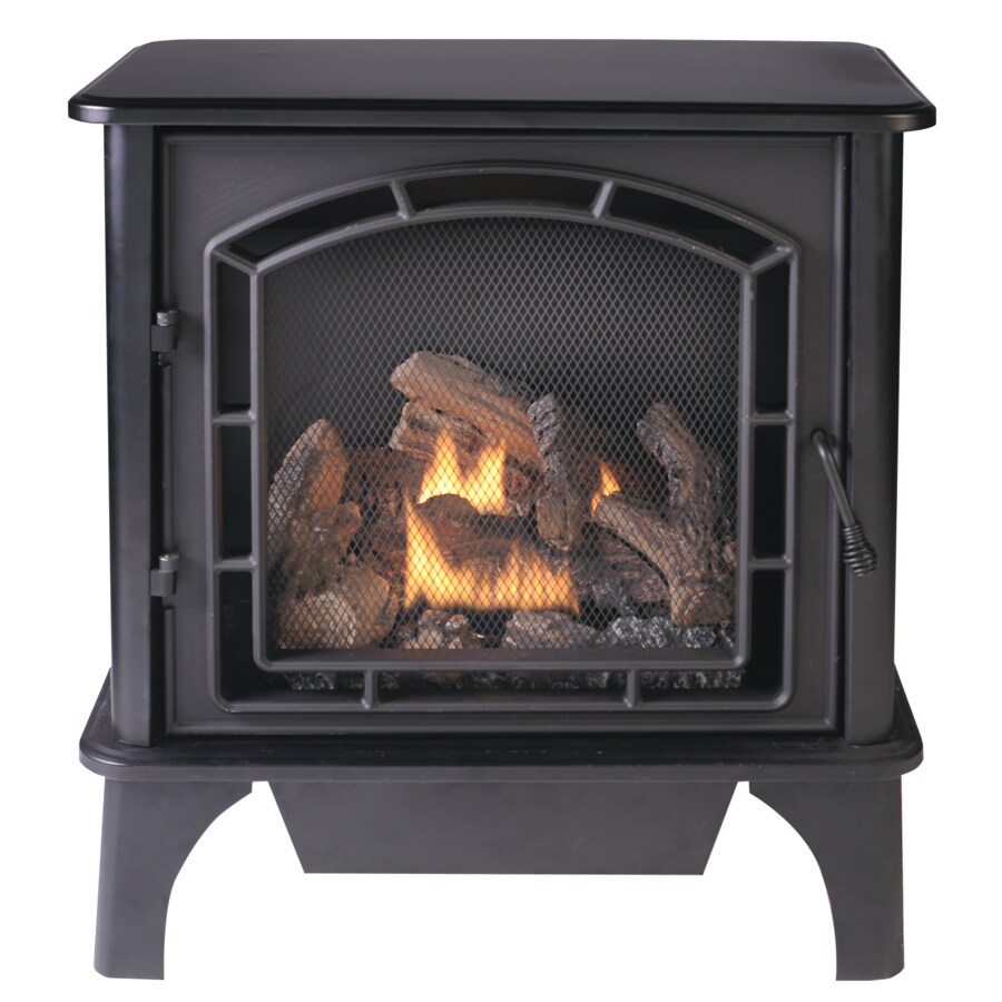 Cedar Ridge Hearth 25.75-in Dual-Burner Vent-Free Black Corner or Wall-Mount Liquid Propane and Natural Gas Fireplace