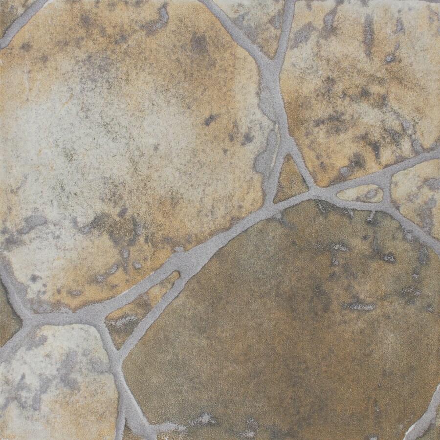 FLOORS 2000 12-Pack River Rock Green Glazed Porcelain Indoor/Outdoor Floor Tile (Common: 13-in x 13-in; Actual: 13.44-in x 13.44-in)