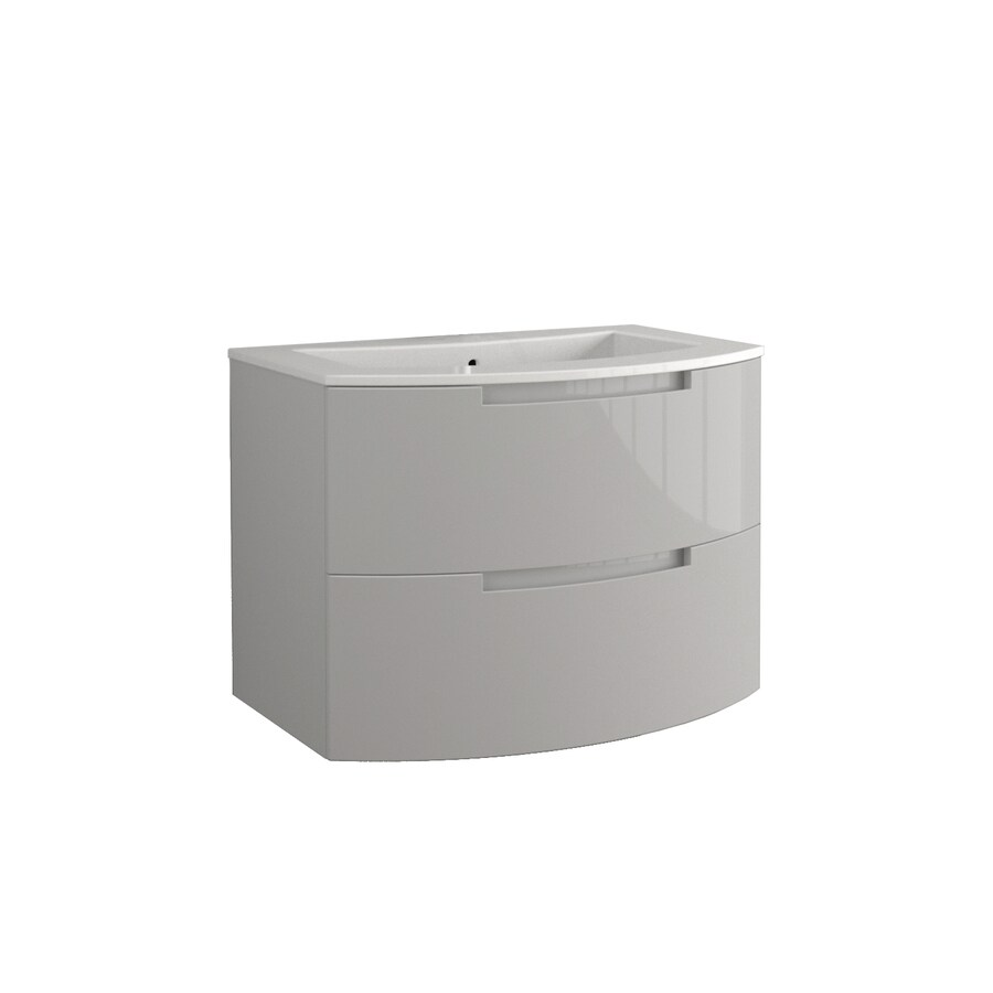 LaToscana Oasi Glossy Grey Integral Single Sink Bathroom Vanity with Solid Surface Top (Common: 29-in x 20-in; Actual: 28.74-in x 20.08-in)