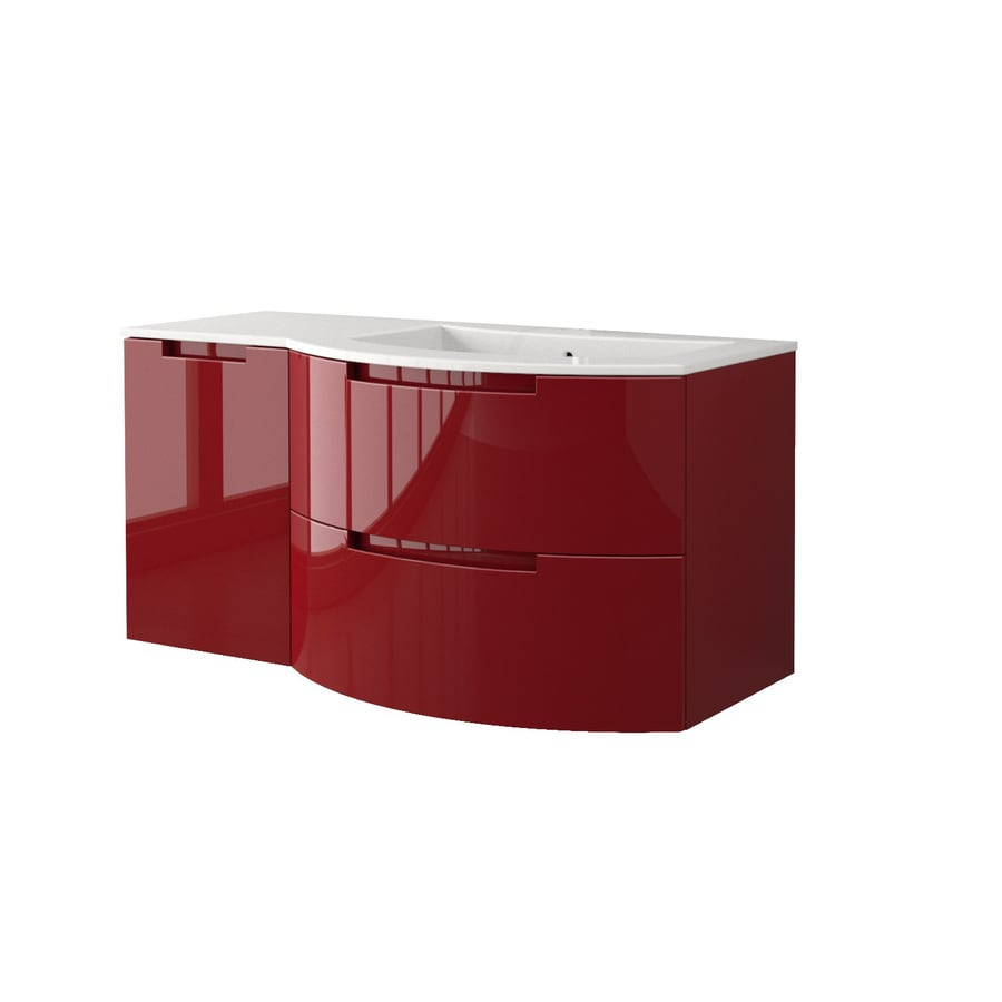 LaToscana Oasi Glossy Red Integral Single Sink Bathroom Vanity with Solid Surface Top (Common: 43-in x 20-in; Actual: 42.92-in x 20.08-in)
