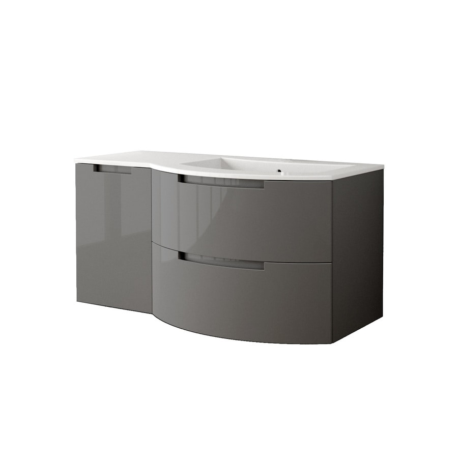 LaToscana Oasi Glossy Slate Integral Single Sink Bathroom Vanity with Solid Surface Top (Common: 43-in x 20-in; Actual: 42.92-in x 20.08-in)