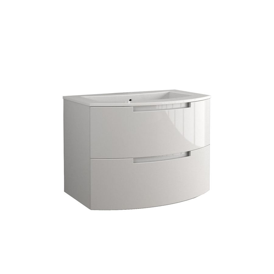 LaToscana Oasi Glossy White Integral Single Sink Bathroom Vanity with Solid Surface Top (Common: 38-in x 20-in; Actual: 38.19-in x 20.08-in)