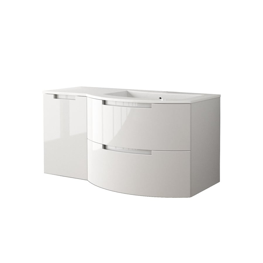 LaToscana Oasi Glossy White Integral Single Sink Bathroom Vanity with Solid Surface Top (Common: 50-in x 20-in; Actual: 52.37-in x 20.08-in)