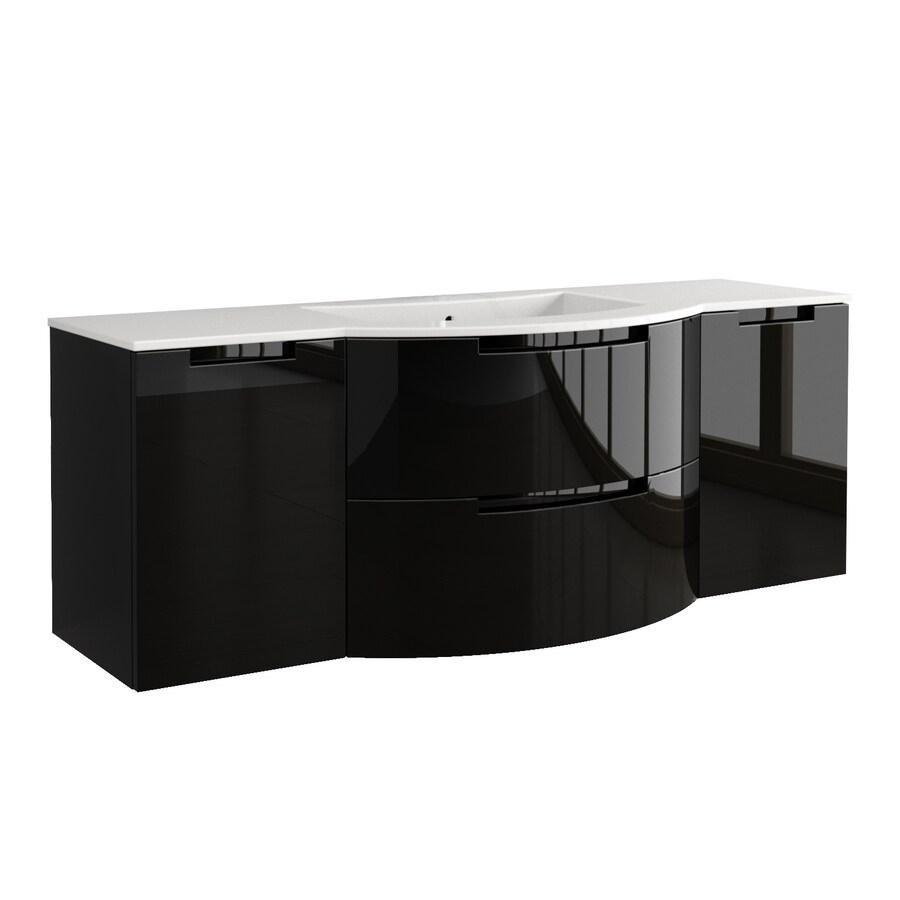 Latoscana Oasi Glossy Black   In Integral Single Sink Bathroom