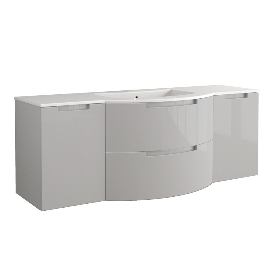 LaToscana Oasi Glossy Grey Integral Single Sink Bathroom Vanity with Solid Surface Top (Common: 71-in x 20-in; Actual: 66.54-in x 20.08-in)