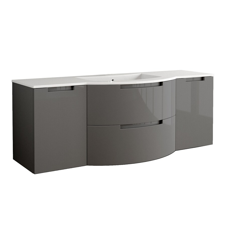 LaToscana Oasi Glossy Slate Integral Single Sink Bathroom Vanity with Solid Surface Top (Common: 71-in x 20-in; Actual: 66.54-in x 20.08-in)