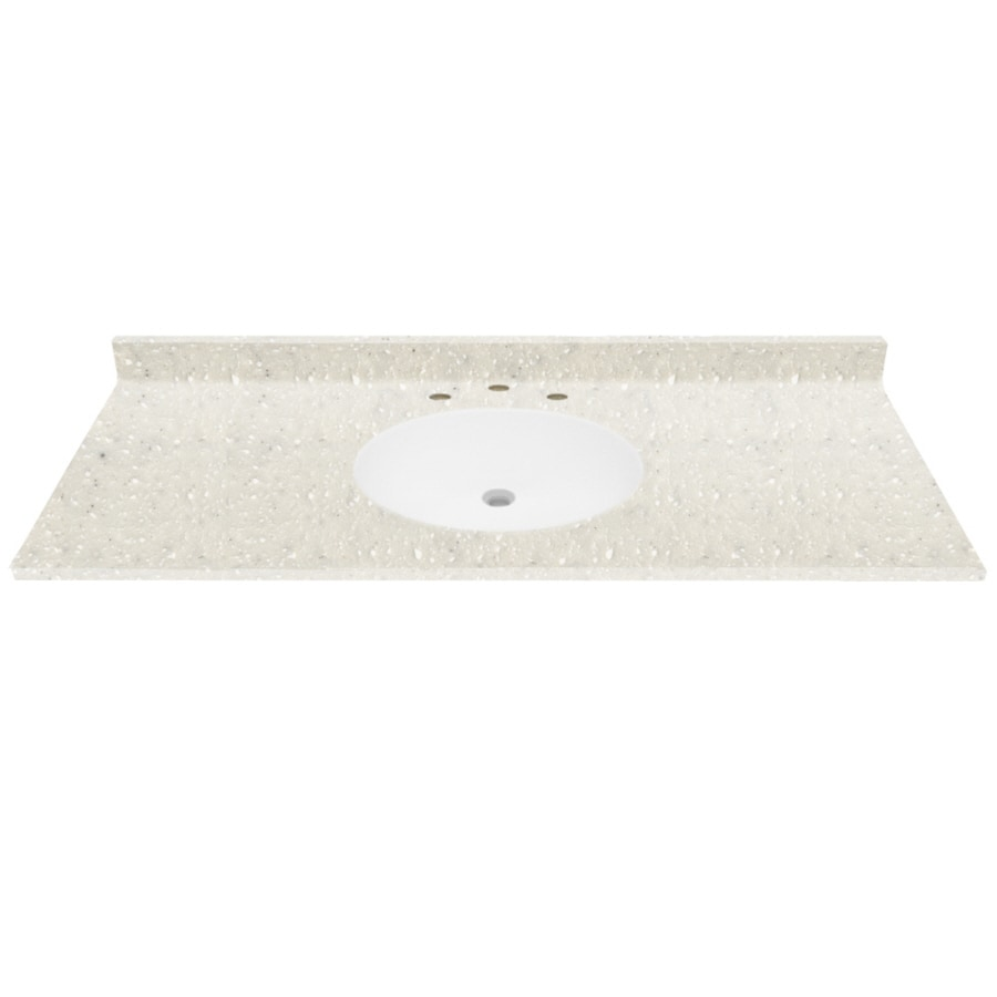 """TFI 49""""W x 22""""D Polar White Solid Surface Vanity Top"""