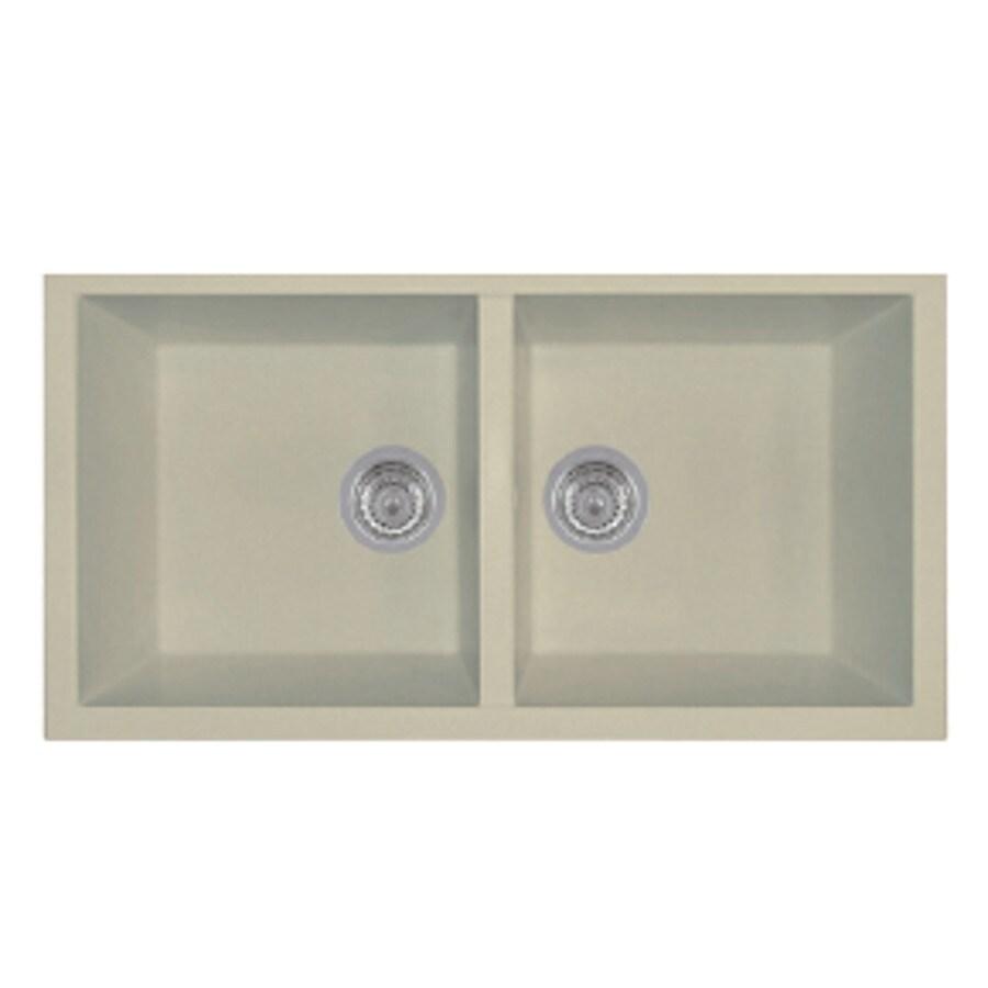 LaToscana Elegance 34-in x 18-in Sahara Double-Basin Granite Undermount Residential Kitchen Sink All-In-One Kit