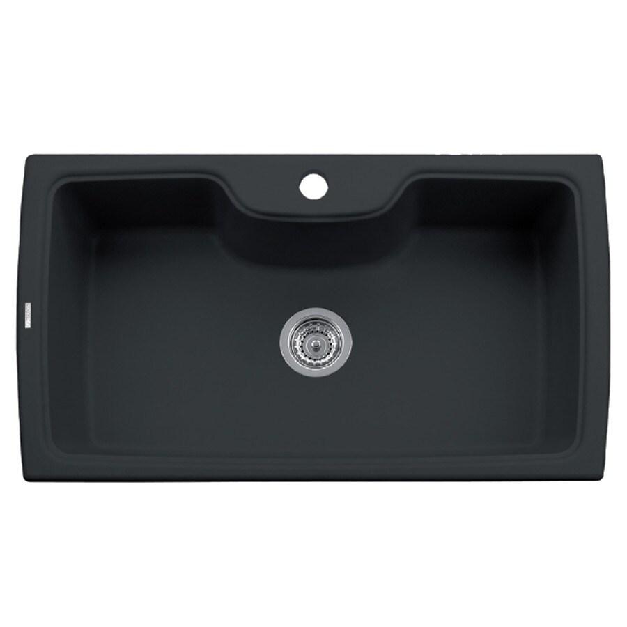 LaToscana Harmony 35-in x 20-in Black Matt Single-Basin Granite Drop-In 1-Hole Residential Kitchen Sink All-In-One Kit