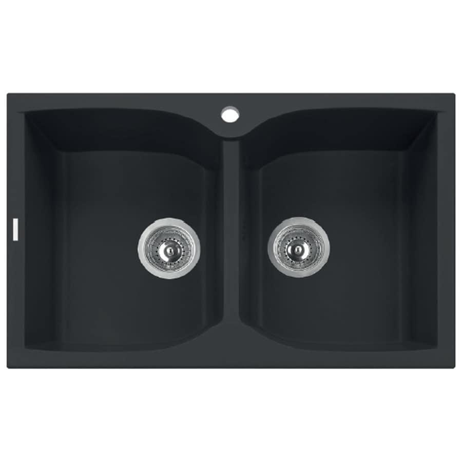 LaToscana Corax 31-in x 18-in Black Matt Double-Basin Granite Drop-In 1-Hole Residential Kitchen Sink All-In-One Kit