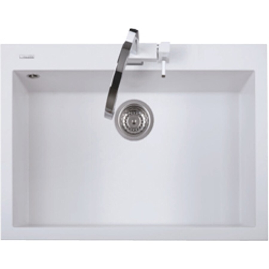 LaToscana One 30-in x 20-in Milk White Single-Basin Granite Drop-In 1-Hole Residential Kitchen Sink All-In-One Kit