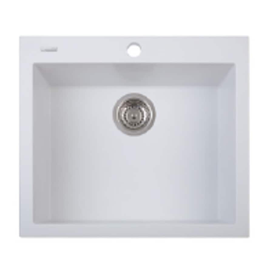 LaToscana One 23-in x 20-in Milk White Single-Basin Granite Drop-In 1-Hole Residential Kitchen Sink All-In-One Kit
