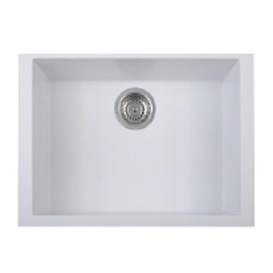 LaToscana One 23-in x 18-in Milk White Single-Basin Granite Drop-In Residential Kitchen Sink All-In-One Kit